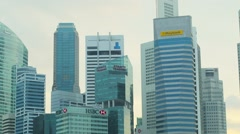 Singapore - circa jan 2014: skyscrapers in downtown of singapore. offices of Stock Footage