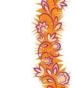 seamless floral pattern. vertical border - stock illustration