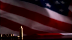 Slow Motion American Flag with Bullets Shells - stock footage