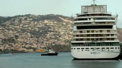 Portugal Madeira 092 German AIDA cruise ship in front of Funchal scenery Stock Footage