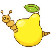 Vector. funny worm in the pear Stock Illustration