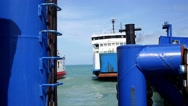 Stock Video Footage of Ferry Leaves Dock in Thailand.