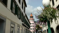 Portugal Madeira 082 tranquil street with archways in Funchal city - stock footage
