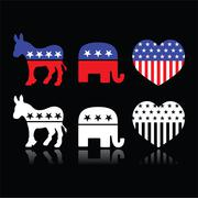USA political parties symbols - Democrats and Republicans on black - stock illustration