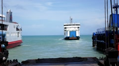Ferry Leaves the Harbor. Thailand. Andaman Sea. - stock footage