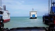 Stock Video Footage of Ferry Leaves the Harbor. Thailand. Andaman Sea.