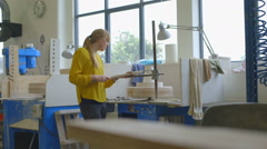 Woman making ceramic on pottery wheel Stock Footage