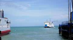 Sailing Ferry in Harbor. Ferryboat Leaving Pier. Speed up. Stock Footage