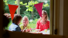 Family celebrating birthday - stock footage