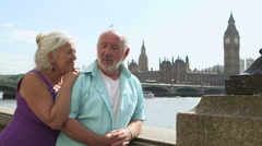 Senior couple talking Stock Footage