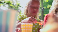 Girl eating cake Stock Footage
