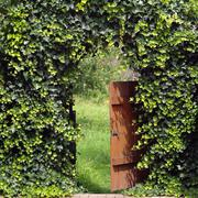 Open garden gate with ivy archway Stock Photos