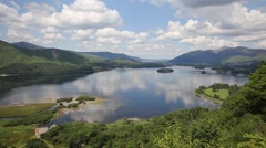 Stock Video Footage of Elevated view of Derwent Water Lake District Cumbria England uk