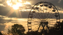 BEAUTIFUL WEATHER SUNRISE FERRIS WHEEL AT CALIFORNIA STATE FAIR HD Stock Footage
