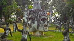 Vientiane, laos - 13 dec 2013: stone statues in buddha park also known as xie Stock Footage