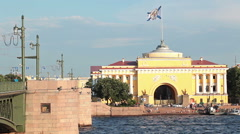 Stock Video Footage of View of Palace bridge with Admiralty building on Neva riv in St. Petersburg, Rus
