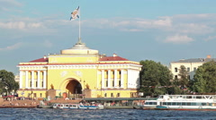 Stock Video Footage of Admiralty embankment with yellow Admiralty building on Neva riv, St. Petersburg