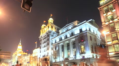 Shanghai The Bund night with Traffic 2 time lapse 30 fps tilt Stock Footage