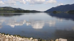 Derwent Water Lake District Cumbria England uk south of Keswick blue sky Stock Footage