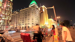 Shanghai The Bund night with Traffic 1 time lapse 30 fps static Stock Footage
