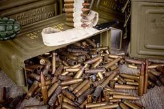 Box of ammunition with empty cartridges Stock Photos