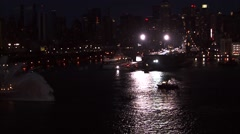 Boat Ocean Lights New York Stock Footage