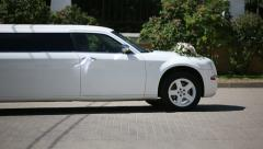 White wedding limousine outdoor shooting. Sequence 2 shot - stock footage