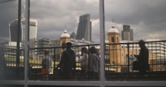 Crowds refelected at Bankside, London 4K Stock Footage