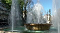 Spain Galicia City of Vigo 008 beautiful fountains in city park Stock Footage