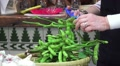 Cutting Edamame 'Soybeans' Off The Stem With Scissors HD Footage
