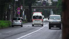 Ambulance In Tokyo On Rainy Day 4K Stock Footage