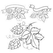 Ripe hops and leaves. Stock Illustration