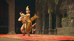 Siem reap, cambodia - 23 dec 2013: scene from the traditional show. pair danc Stock Footage