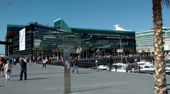 Spain Galicia City of Vigo 015 shopping center and cruise ship in harbor Stock Footage