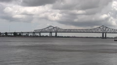 Mississippi river bridge 30s Stock Footage