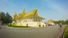 Phnom penh, cambodia - 29 dec 2013: the throne hall of royal palace with tour Stock Footage