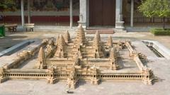Phnom penh, cambodia - 29 dec 2013: model of famous angkor wat Stock Footage