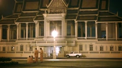 Phnom penh, cambodia - 29 dec 2013: buddhist monks near the royal palace in t Stock Footage