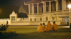 Phnom penh, cambodia - 29 dec 2013: group of buddhist monks near the royal pa Stock Footage