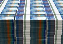 swiss franc notes bundles stack - stock illustration