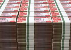 Hong kong dollar notes bundles stack Stock Illustration