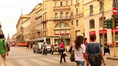 Milan, via Orefici Stock Footage