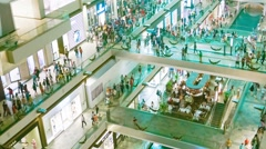 Singapore - circa dec 2013: large shopping complex with buyers. view from ins Stock Footage