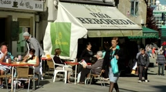 Spain Galicia City of Vigo 025 street café and a wine bar in the old town Stock Footage