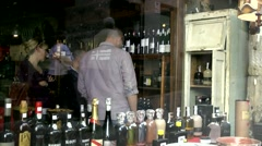 Spain Galicia City of Vigo 026 clients in a wine store of old town Stock Footage