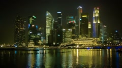 Singapore - circa jan 2014: night view of high-rise office building Stock Footage