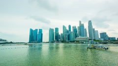 Singapore - circa jan 2014: panorama of the bay with skyscrapers and hotel ma Stock Footage