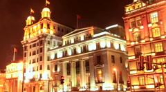 Shanghai The Bund night with Crowd 2 time lapse 30 fps zoom out Stock Footage