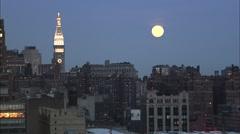 Full Moon Manhattan Island Stock Footage