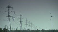 Wind turbine and electicity power - stock footage